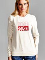 Bluza damska patriotyczna nadruk DOBRA BO POLSKA ecru                                  zdj.                                  1