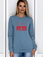 Bluza damska patriotyczna nadruk DOBRA BO POLSKA niebieska                                  zdj.                                  1