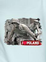 Bluza damska patriotyczna z grafiką I LOVE POLAND miętowa                                  zdj.                                  2