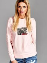 Bluza damska patriotyczna z grafiką I LOVE POLAND różowa                                  zdj.                                  1