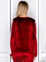Bluza damska welurowa z jasnymi modułami bordowa                                  zdj.                                  2