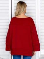 Bluza damska z górskim nadrukiem i szerokimi rękawami bordowa                                  zdj.                                  2