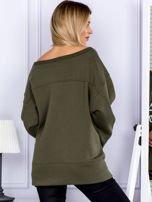 Bluza damska z górskim nadrukiem i szerokimi rękawami khaki                                  zdj.                                  2