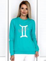 Bluza damska z motywem znaku zodiaku BLIŹNIĘTA miętowa                                  zdj.                                  1