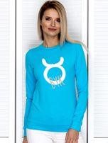 Bluza damska z motywem znaku zodiaku BYK turkusowa                                  zdj.                                  1