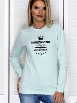 Bluza damska z nadrukiem tekstowym KSIĘŻNICZKA miętowa                                  zdj.                                  1