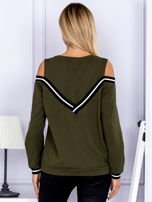 Bluza damska z ściągaczami khaki                                  zdj.                                  2