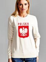 Bluza patriotyczna POLSKA z nadrukiem Orła Białego ecru                                  zdj.                                  1