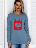 Bluza patriotyczna POLSKA z nadrukiem Orła Białego niebieska                                  zdj.                                  1