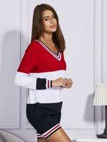 Bluza z kolorowymi modułami czerwona                                  zdj.                                  3