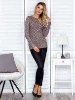 Bluzka damska melanżowa z długim rękawem brązowa                                  zdj.                                  5