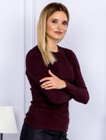 Bluzka damska prążkowana z długim rękawem bordowa                                  zdj.                                  3