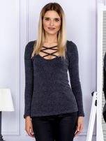 Bluzka damska w prążek z paseczkami przy dekolcie ciemnoszara                                  zdj.                                  1