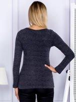 Bluzka damska w prążek z paseczkami przy dekolcie ciemnoszara                                  zdj.                                  2