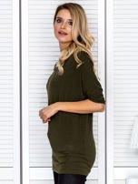 Bluzka damska z lejącym dekoltem khaki                                  zdj.                                  5
