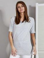 Bluzka damska z lejącym dekoltem szara                                  zdj.                                  1