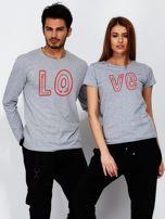 Bluzka męska szara z początkiem napisu LOVE dla par                                  zdj.                                  3