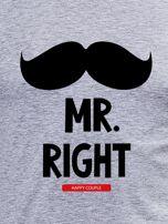 Bluzka męska szara z wąsami MR. RIGHT dla par                                  zdj.                                  2