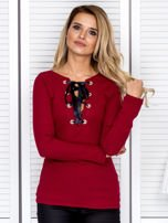 Bordowa bluzka damska ze sznurowanym dekoltem                                   zdj.                                  1
