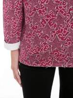 Bordowa bluzka z surowym wykończeniem we wzór gwiazd                                  zdj.                                  8