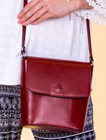 Bordowa skórzana torebka z klapką                                  zdj.                                  3