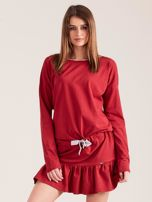 Bordowa sukienka oversize z falbaną                                  zdj.                                  1