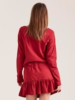 Bordowa sukienka oversize z falbaną                                  zdj.                                  2