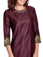 Bordowa sukienka w indyjskim stylu                                                                           zdj.                                                                         6