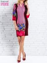 Bordowa sukienka w kwiaty w orientalnym stylu