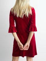 Bordowa welurowa sukienka damska                                  zdj.                                  2