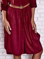 Bordowa zamszowa sukienka z rozcięciami po bokach                                                                          zdj.                                                                         6