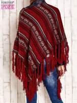 Bordowe poncho w etniczne wzory z frędzlami                                  zdj.                                  4