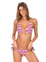 Bordowy strój kąpielowy bikini w geometryczne wzory                                  zdj.                                  5