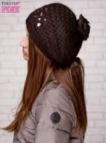 Brązowa czapka z błyszczącą aplikacją                                  zdj.                                  3