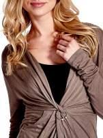 Brązowa drapowana sukienka                                   zdj.                                  5