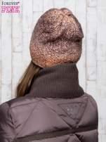 Brązowa dzianinowa czapka ombre                                  zdj.                                  3