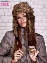 Brązowa futrzana czapka z podszewką