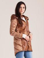 Brązowa kurtka ze skórzanymi wstawkami                                  zdj.                                  3