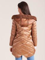 Brązowa kurtka ze skórzanymi wstawkami                                  zdj.                                  2