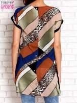 Brązowa patchworkowa tunika mgiełka o luźnym kroju                                  zdj.                                  2