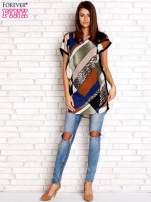 Brązowa patchworkowa tunika mgiełka o luźnym kroju                                  zdj.                                  4
