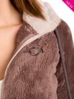 Brązowa polarowa bluza miś z kapturem z uszkami                                  zdj.                                  7
