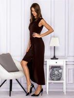 Brązowa sukienka maxi z dłuższym tyłem                                  zdj.                                  5