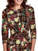 Brązowa sukienka w kratę z kwiecistym nadrukiem                                                                           zdj.                                                                         6