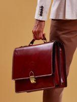 Brązowa torba aktówka męska z odpinanym paskiem                                  zdj.                                  3
