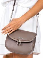 Brązowa torba listonoszka z ozdobnymi suwakami                                  zdj.                                  2