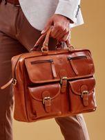 Brązowa torba męska z odpinanym paskiem                                  zdj.                                  4
