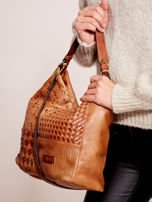 Brązowa torba z motywem plecionki                                  zdj.                                  2