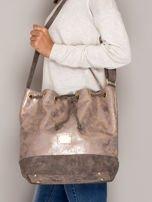 Brązowa torba ze ściągaczem                                  zdj.                                  4