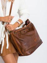 Brązowa torba ze ściągaczem                                  zdj.                                  5
